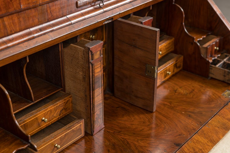 George II Figured Walnut Secretary Bookcase with Mirrored Doors For Sale 1