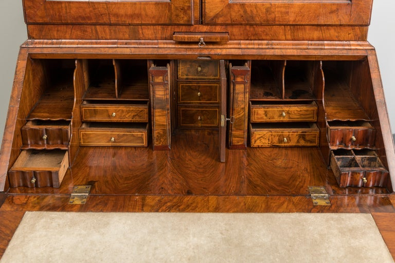 Early 18th Century George II Figured Walnut Secretary Bookcase with Mirrored Doors For Sale