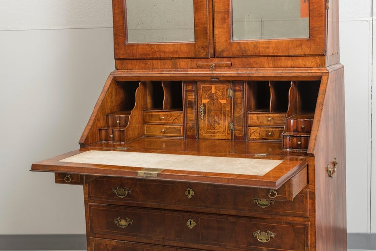 George II Figured Walnut Secretary Bookcase with Mirrored Doors In Good Condition For Sale In San Francisco, CA