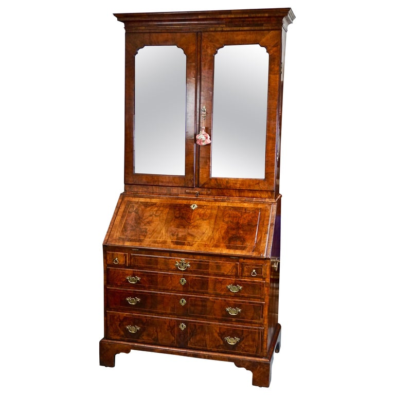 George II Figured Walnut Secretary Bookcase with Mirrored Doors For Sale