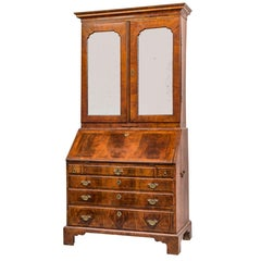 George II Figured Walnut Secretary Bookcase with Mirrored Doors