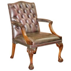 George II Gainsborough Carver Chesterfield Leather Armchair Claw and Ball Feet