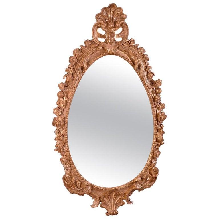George II Giltwood Oval Mirror