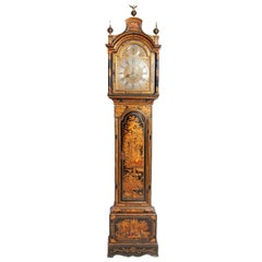 George II Lacquered Chinoiserie Tall Case Clock Inscribed Jno. Fladgate, London