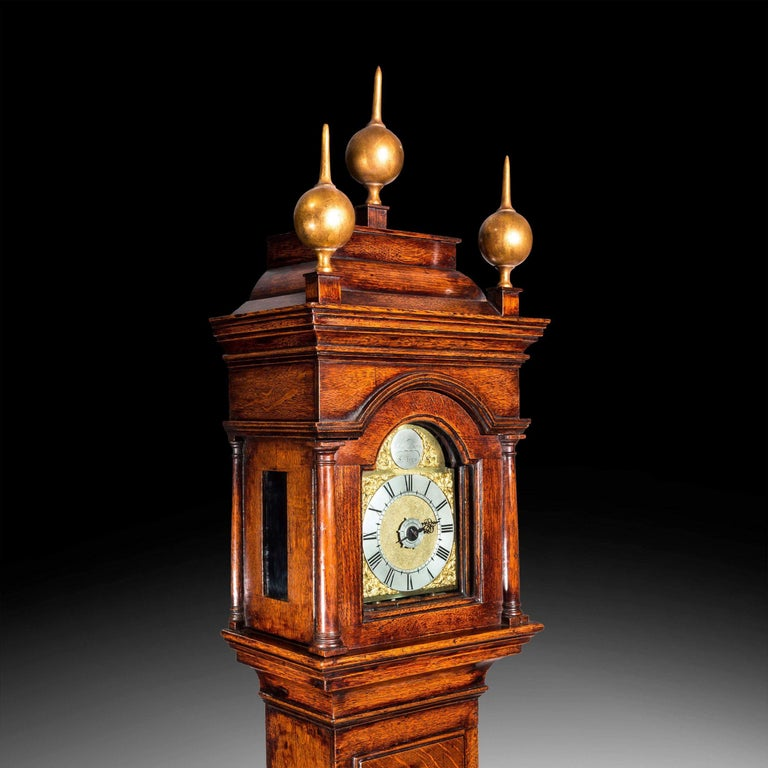 English George II Lantern Alarm Clock Housed in a Perfectly Proportioned Oak Case For Sale