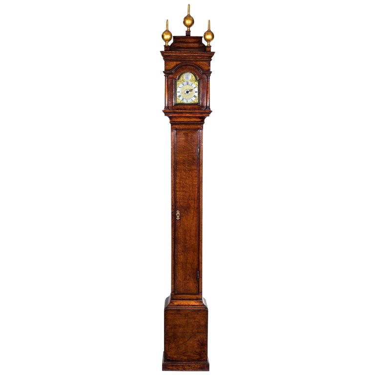 George II Lantern Alarm Clock Housed in a Perfectly Proportioned Oak Case For Sale