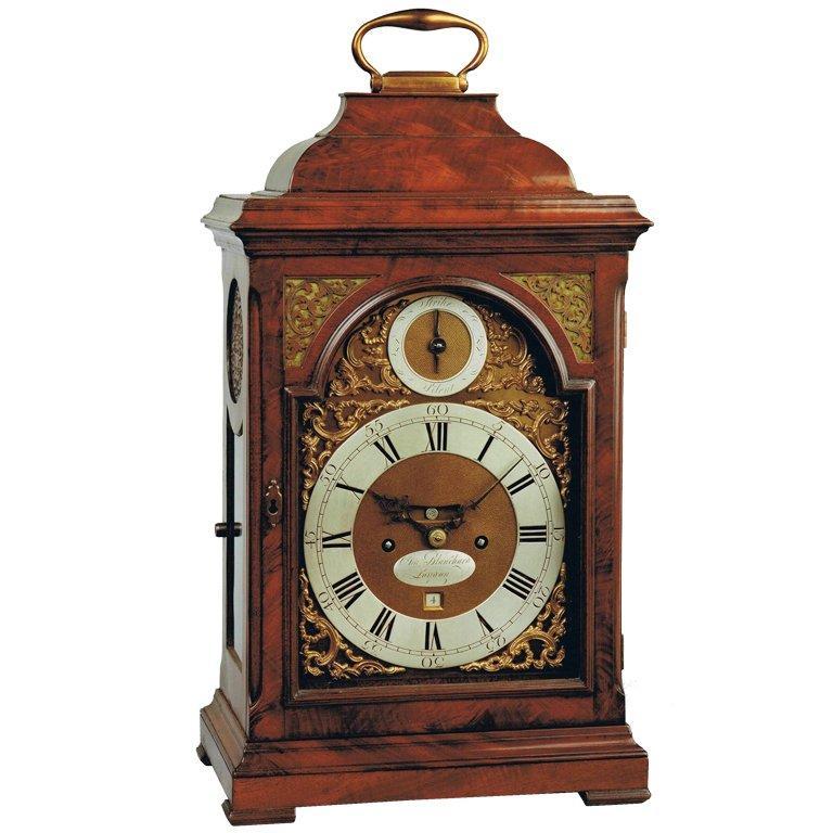 George II mahogany bracket clock by Charles Blanchard, London