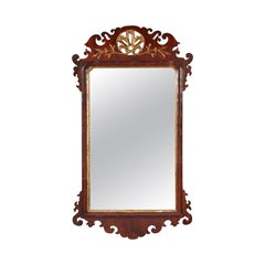 George II Mahogany Fret Carved and Parcel Gilt Mirror