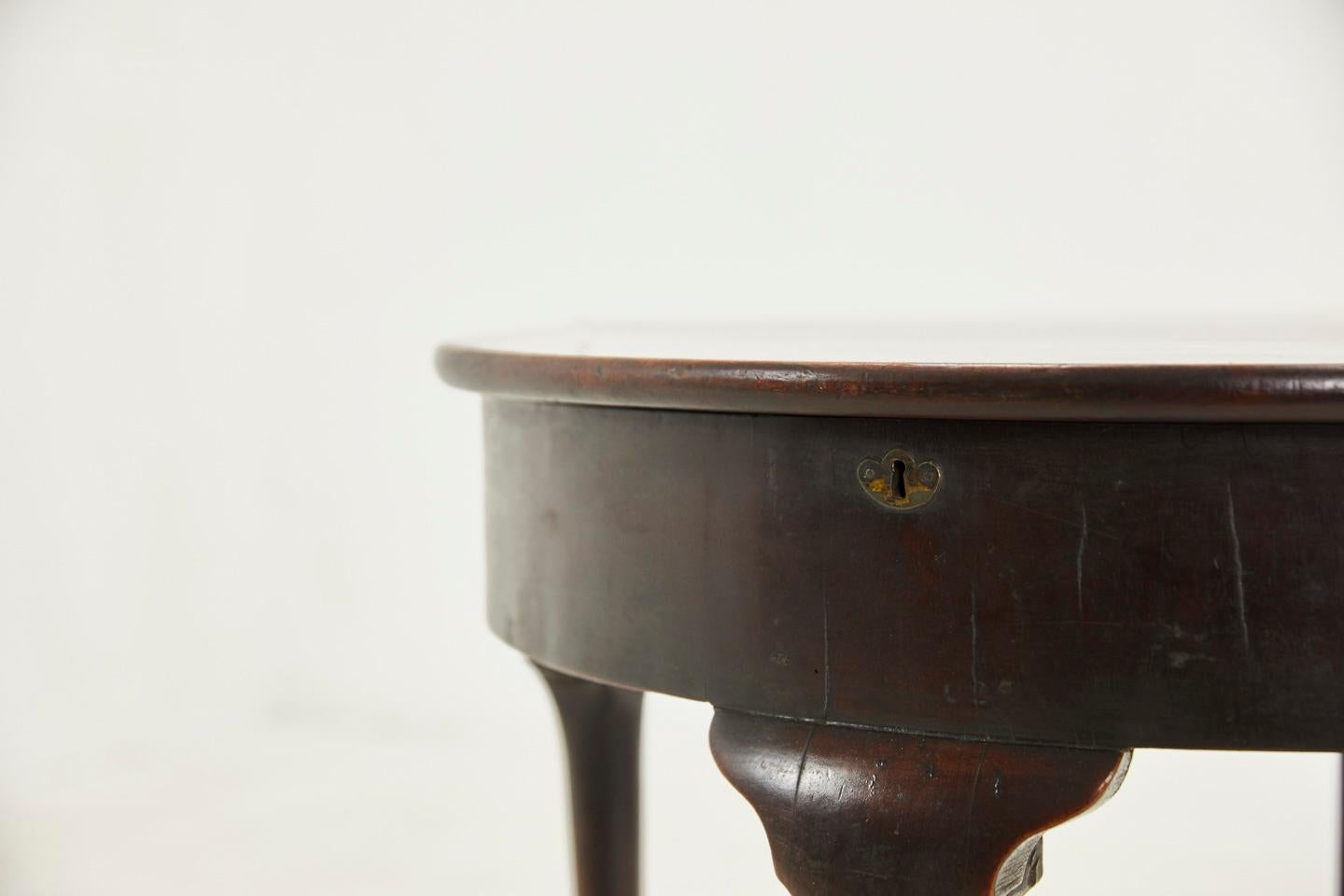 George Ii Mahogany Pad Foot Half Round Tea Table At 1stdibs