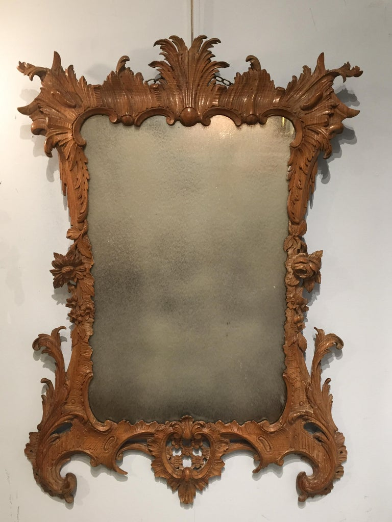 A rare and extremely interesting example of a mid-18th century carved pine mirror frame in the High Style Rococo manner, incorporating many of the most popular motifs of the genre including all things botanical, with stylised flowers and Lattice