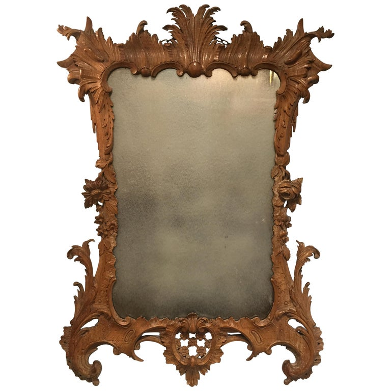 George II Period Rococo Carved Mirror Frame of Astonishing Quality and Detail For Sale