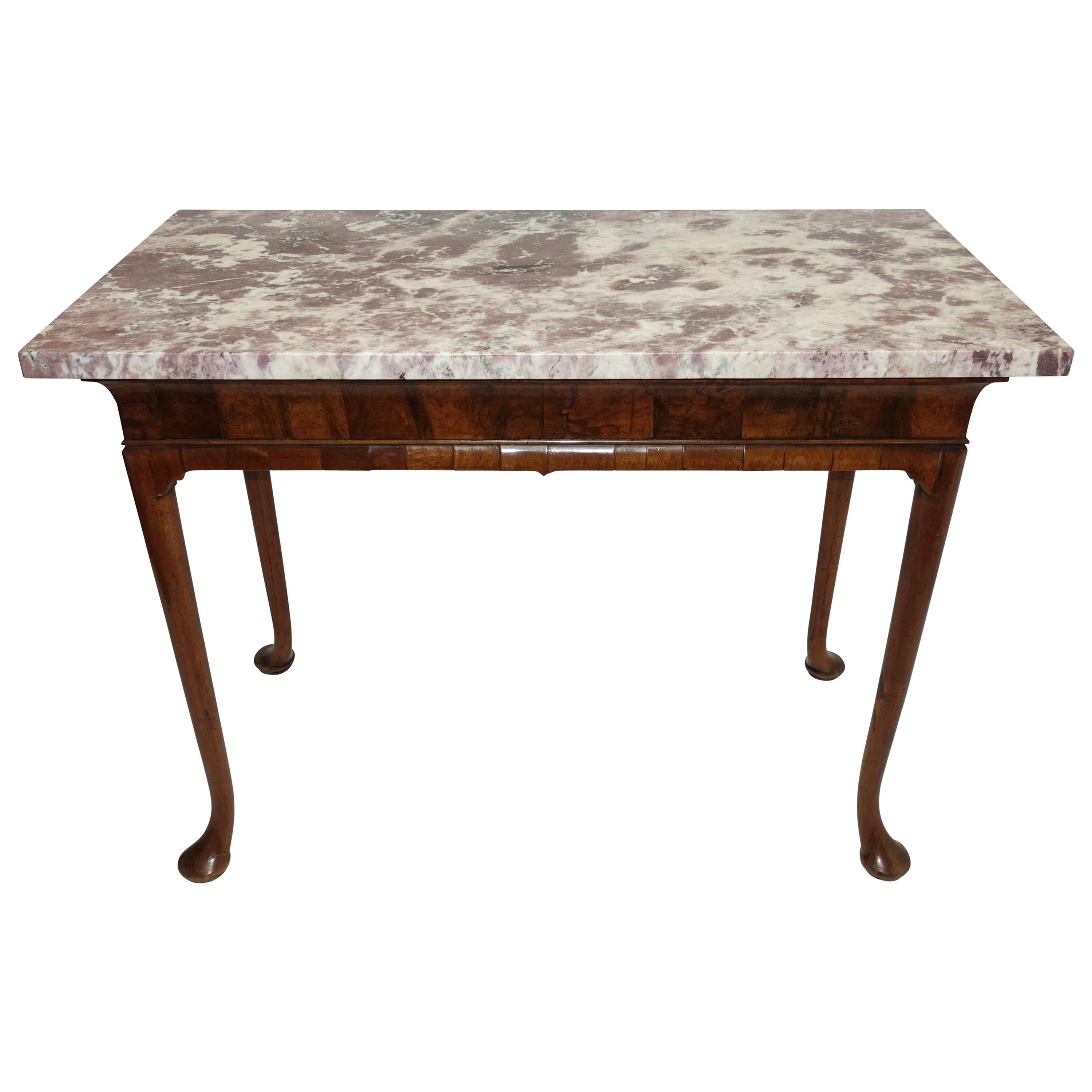 George II Period Walnut Pier / Console Table with Marble Top