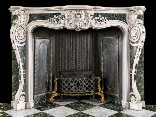 George Ii Rococo Chimneypiece In White Statuary And Verde Antico Marble For Sale At 1stdibs