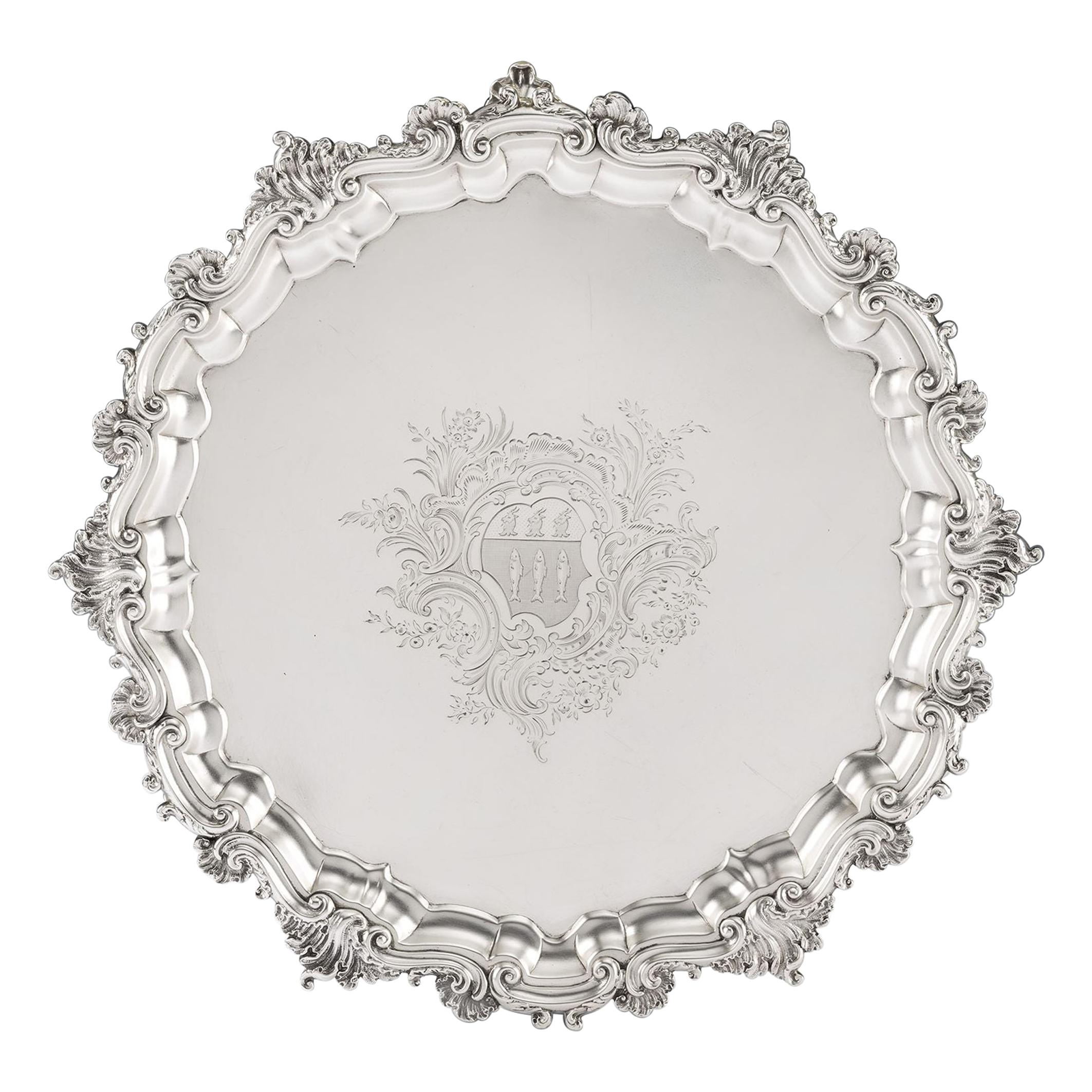 George II Rococo Salver Made in London in 1746 by John Swift