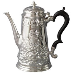 George II Silver Coffee Pot London 1730 Simon Pantin II