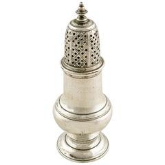 George II Sterling Silver Pepper Caster, 18th Century