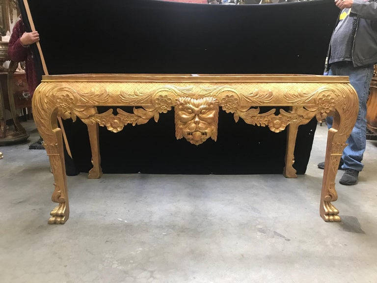 George II Style Carved Giltwood Console with Thick Marble In Good Condition For Sale In Cypress, CA