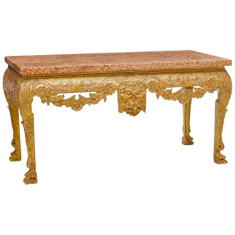 George II Style Carved Giltwood Console with Thick Marble For Sale