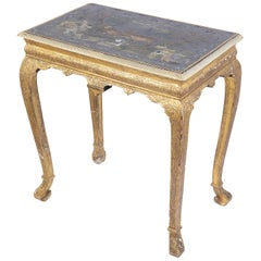 George II Style Giltwood and Lacquered Side Table