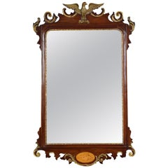 George II Style Mahogany and Giltwood Mirror