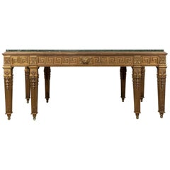 George II Style Marble-Top and Gilt Bronze Library or Dining Table