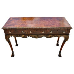 George II Style Seaweed Marquetry Inlaid Walnut Serving or Sofa Table