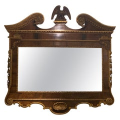 George II Style Walnut and Gilt Architectural Mirror