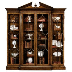 George II Style Walnut Breakfront Bookcase