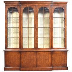 George II Style Walnut Breakfront Display Bookcase