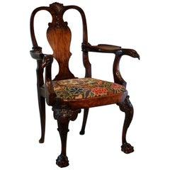 George II Style Walnut Open Armchair