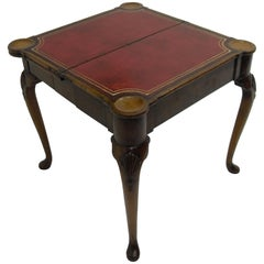 George II Triple Top Carved Walnut Ball and Claw Card Table