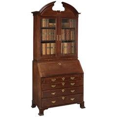 George II Walnut Crossbanded Mahogany Bureau Cabinet, circa 1740