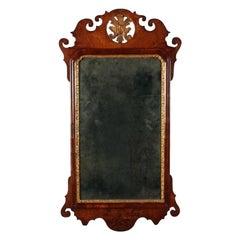 George II Walnut Wall Mirror, 18th Century