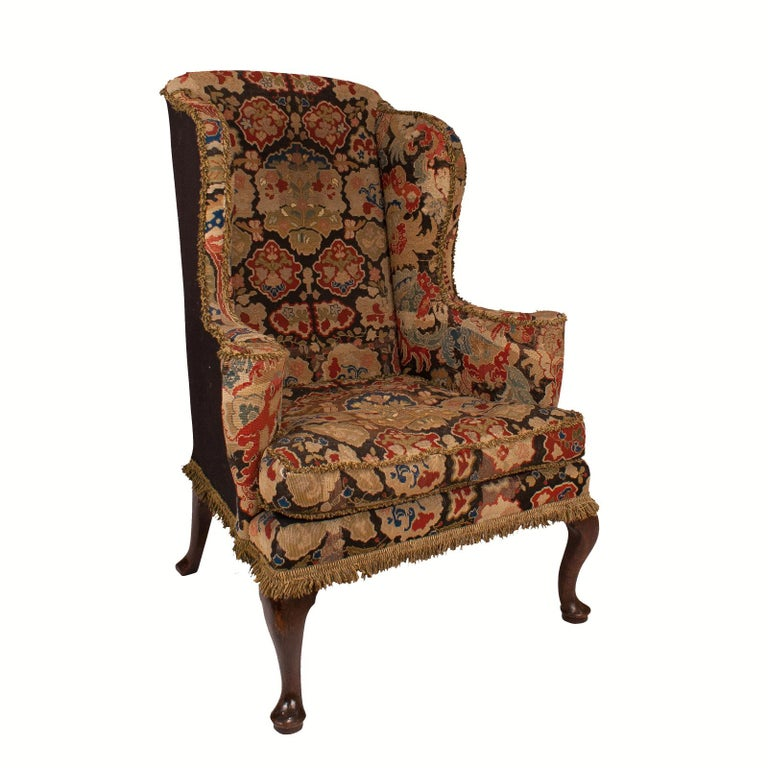 English George II Wing Chair, England, circa 1750 For Sale