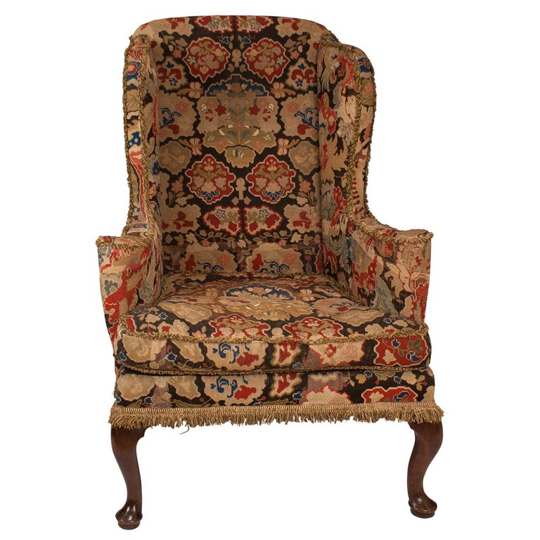 George II Wing Chair, England, circa 1750 For Sale