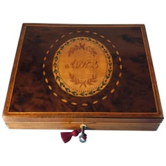 George III 1785 Sheraton Burr Yew Sycamore Stationary Box