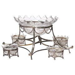 George III 1792 5-Piece Silver and Cut Glass Epergne Centerpiece Bowls