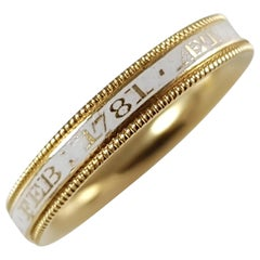 George III 18 Karat Gold and Enamel Mourning Band Ring, circa 1781
