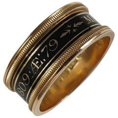 George III 18 Karat Yellow Gold and Enamel Memorial Mourning Ring, London, 1809