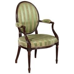 George III 18th Century Adam Period Mahogany Open Armchair
