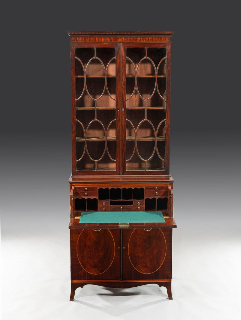 English George III 18th Century Period Mahogany Secretaire Bookcase Attributed to Gillow For Sale