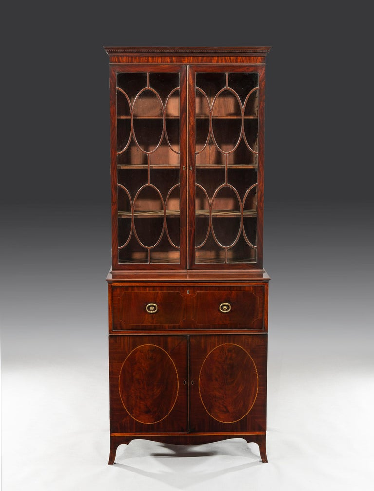 George III 18th Century Period Mahogany Secretaire Bookcase Attributed to Gillow In Good Condition For Sale In Bradford on Avon, GB