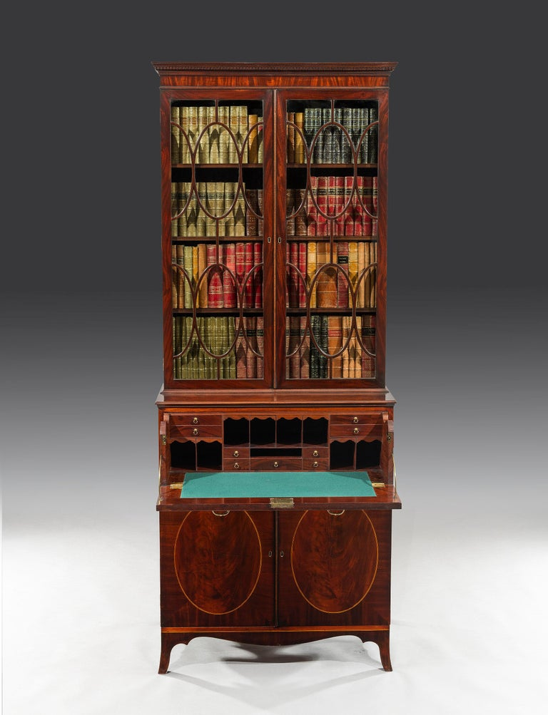 George III 18th Century Period Mahogany Secretaire Bookcase Attributed to Gillow For Sale 2