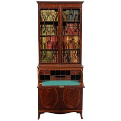 George III 18th Century Period Mahogany Secretaire Bookcase Attributed to Gillow