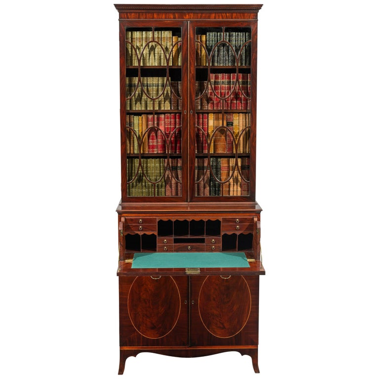 George III 18th Century Period Mahogany Secretaire Bookcase Attributed to Gillow For Sale