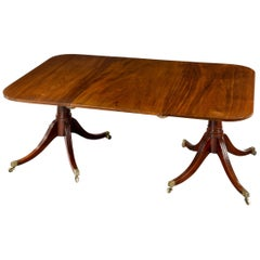 George III 18th Century Period Mahogany Twin Pedestal Dining Table