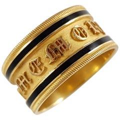 George III 22 Karat Gold and Enamel Memorial Mourning Band Ring, 1813