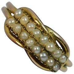 George III 9 Karat Gold zweireihige Pearl eine halbe Ewigkeit Stapeln Ring mit Liebhaber Knoten