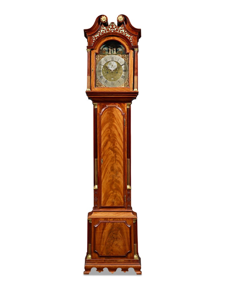 A majestic specimen of English clockmaking, this important longcase clock by London clockmaker James Fenton features an exceptional Adam and Eve automaton above the dial. Longcase timepieces that combine the mechanics of a clock with those of an