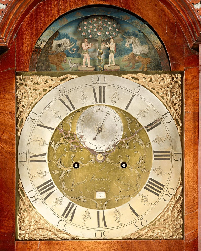 18th Century and Earlier George III Adam and Eve Automaton Longcase Clock For Sale